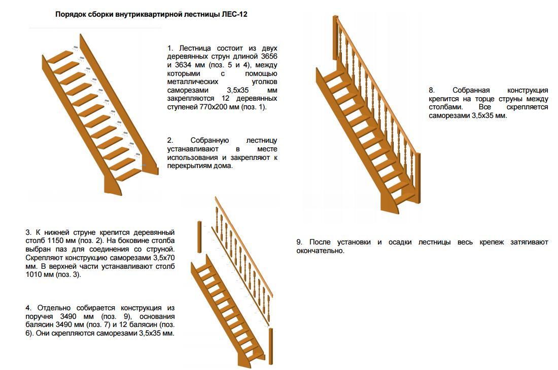 Сборка лестниц деревянных